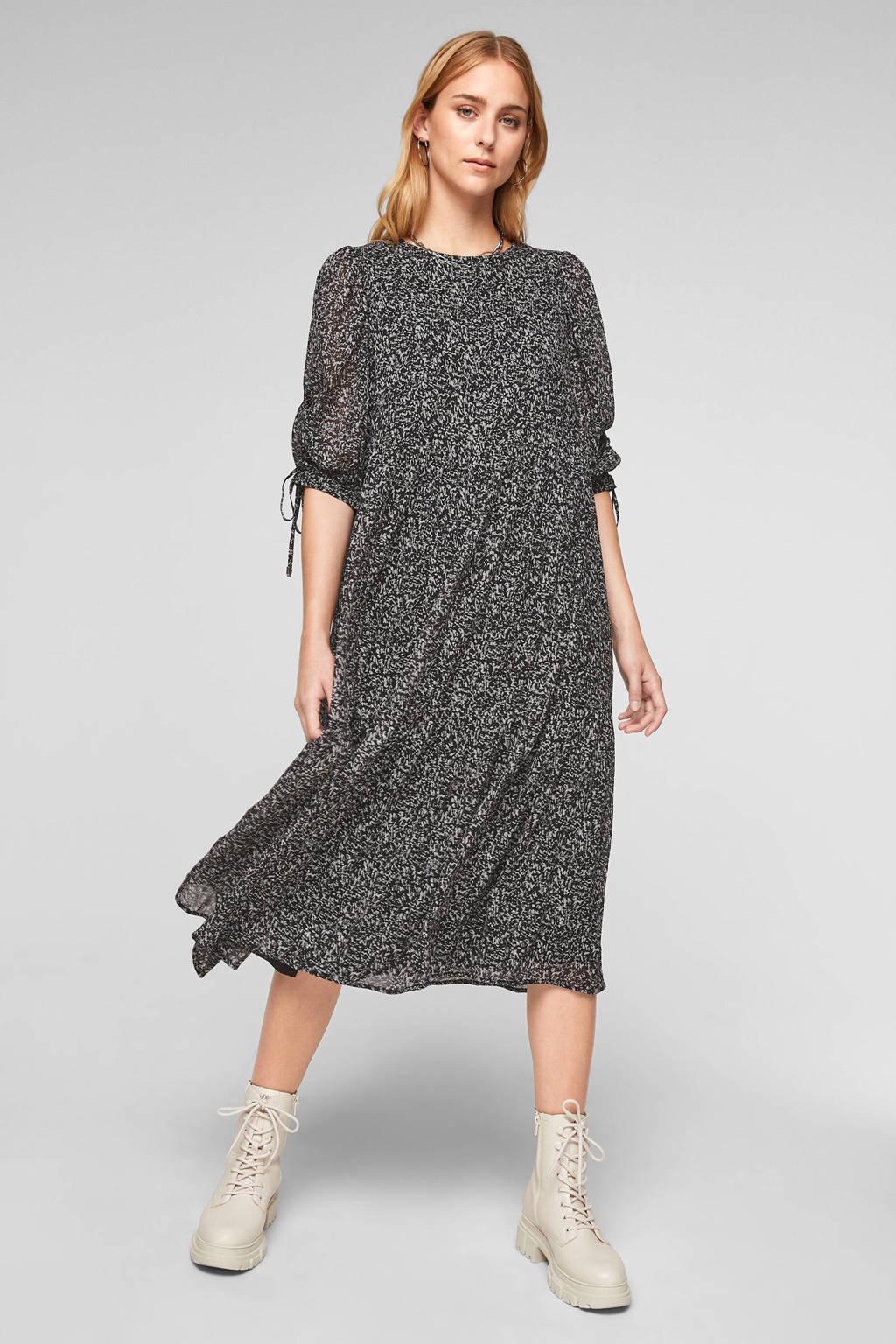 Q/S designed by semi-transparante jurk met all over print en volant zwart/wit/grijs, Zwart/wit/grijs