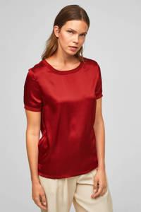 s.Oliver BLACK LABEL blousetop met zijde donkerrood, Donkerrood