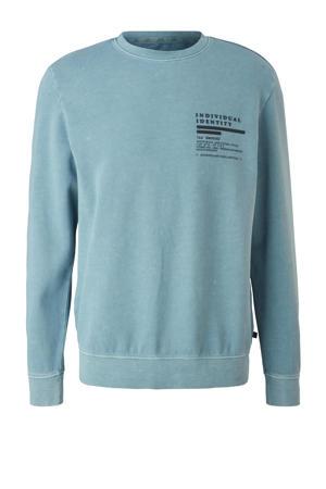 sweater met all over print lichtblauw