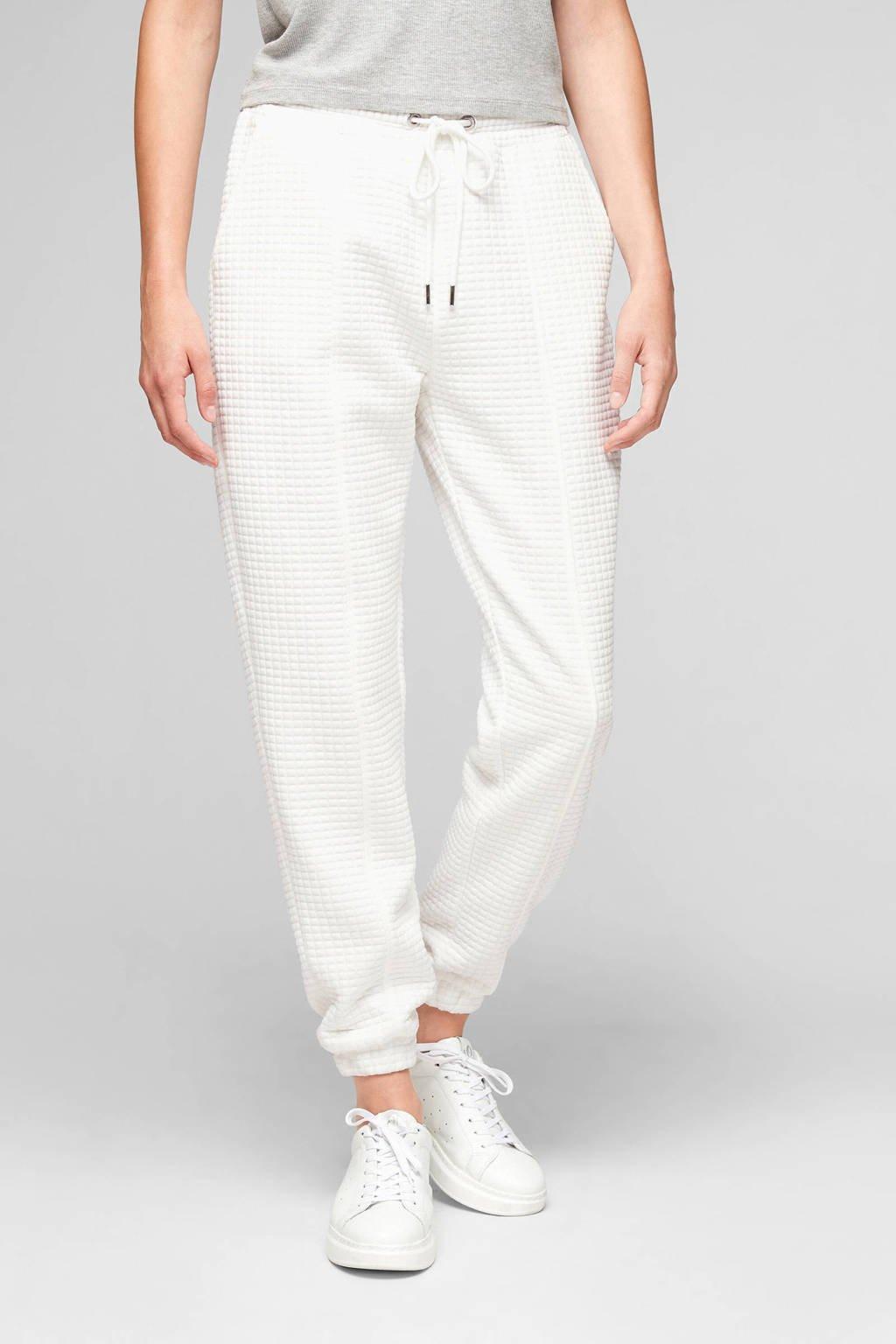 Q/S designed by tapered fit broek met textuur wit, Wit