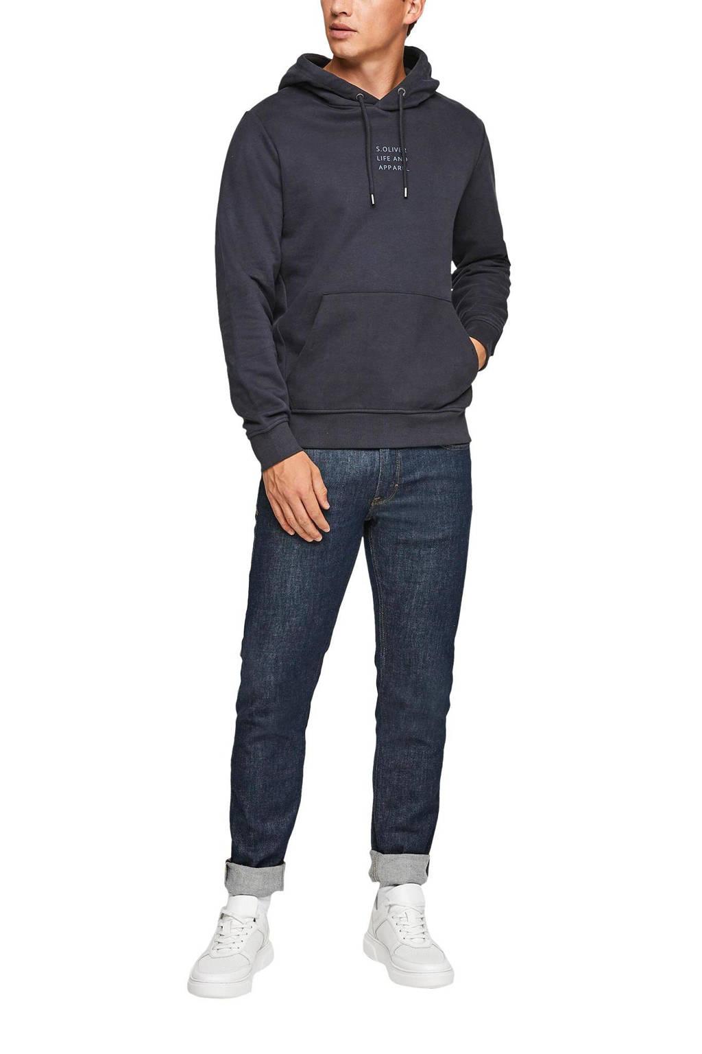 s.Oliver hoodie met logo donkerblauw, Donkerblauw