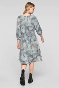 s.Oliver jurk met all over print lichtblauw/donkerpaars/ecru, Lichtblauw/donkerpaars/ecru