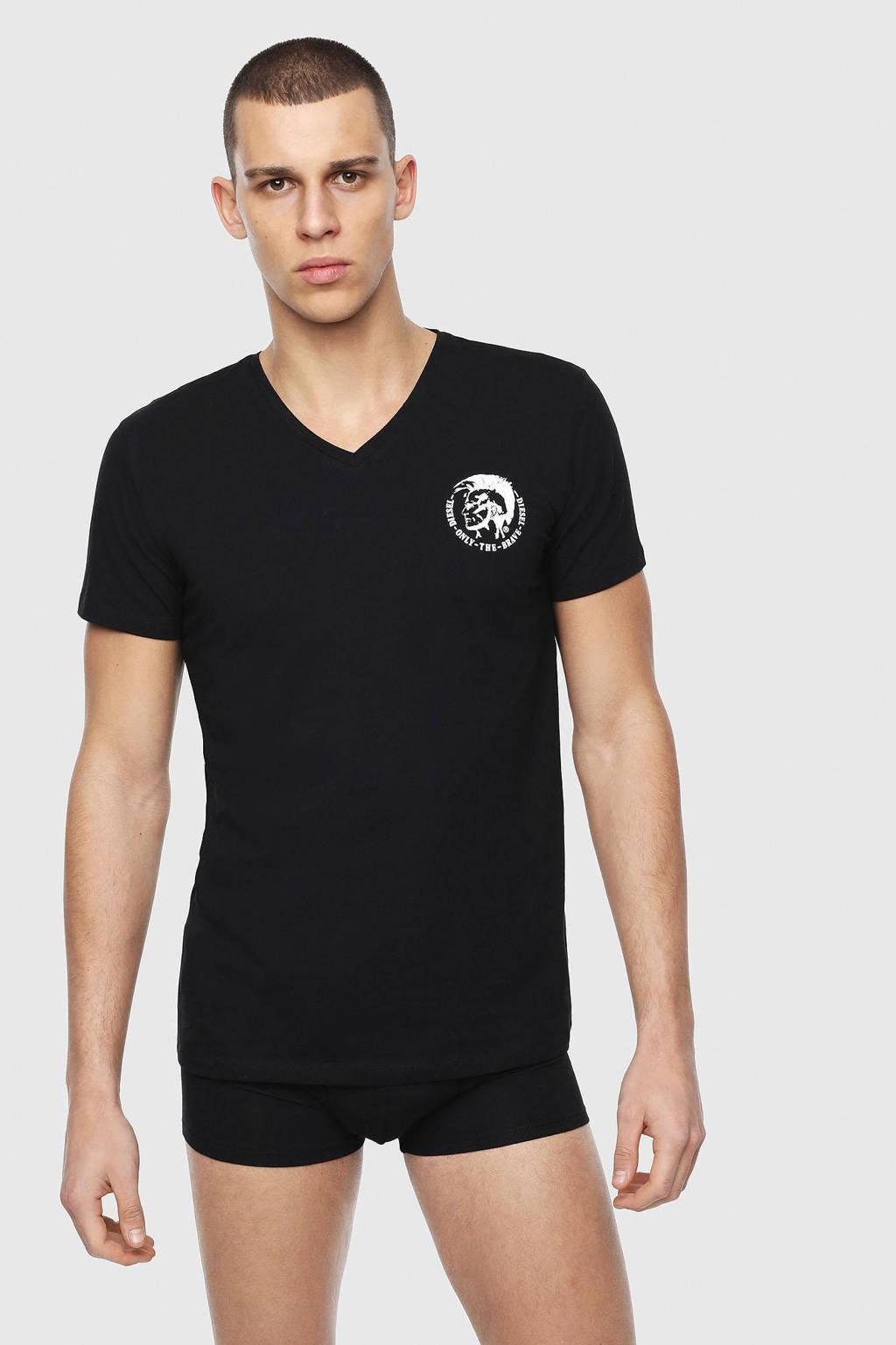 Diesel T-shirt Michael (set van 3) zwart, Zwart