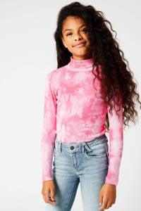 America Today Junior tie-dye ribgebreide top Lorrie roze, Roze