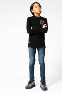 CoolCat Junior longsleeve Lennox met printopdruk zwart, Zwart