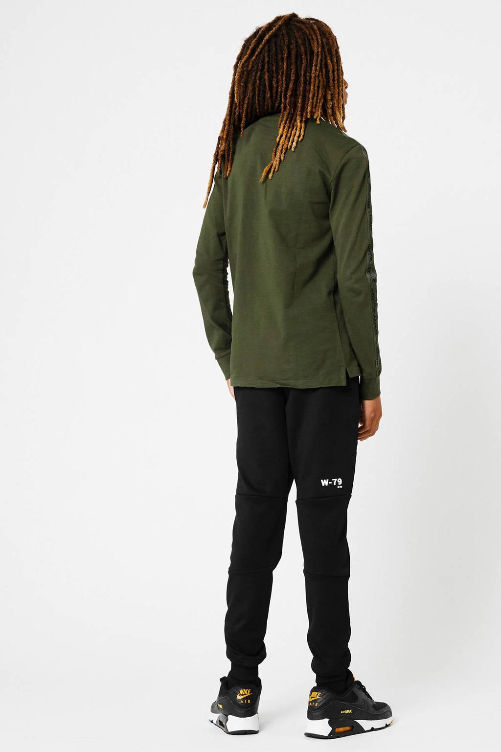CoolCat Junior longsleeve Lion  met contrastbies army groen, Army groen