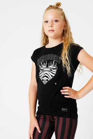 T-shirt Elena met printopdruk en plooien zwart