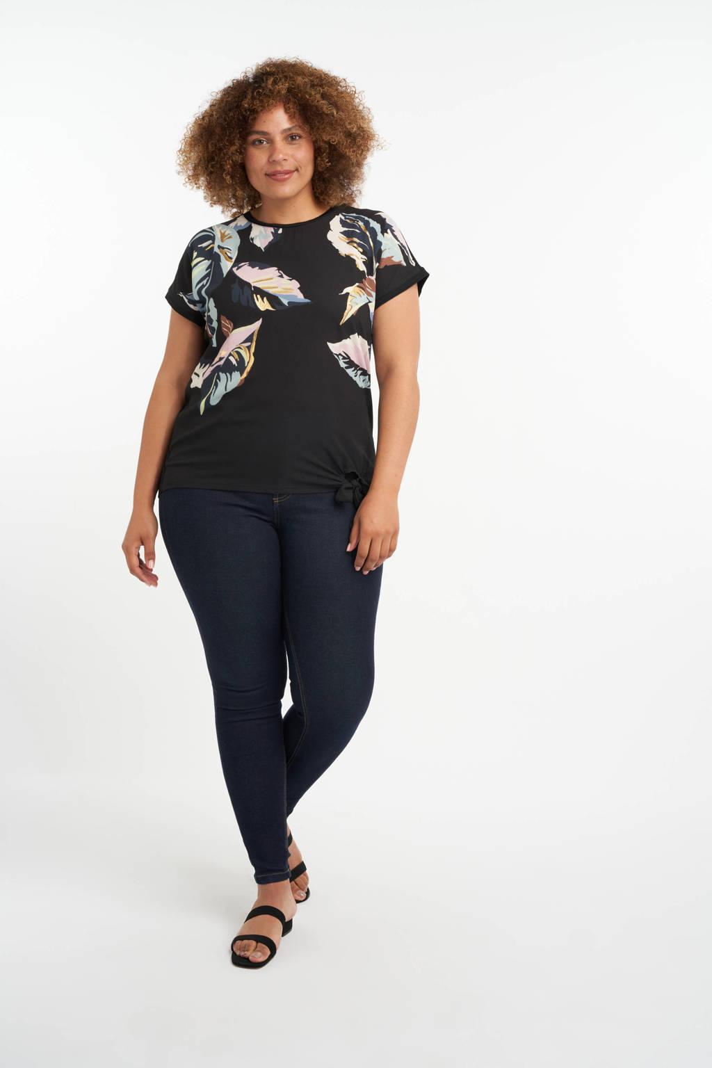 MS Mode gebloemd T-shirt zwart/lichtroze/lichtblauw, Zwart/lichtroze/lichtblauw