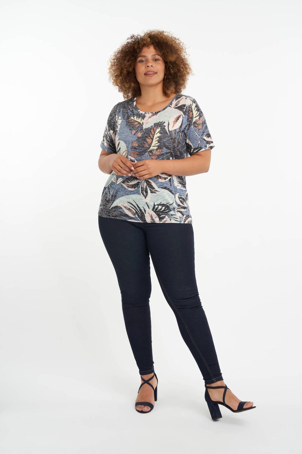 MS Mode T-shirt met bladprint blauw/bruin/lichtroze, Blauw/bruin/lichtroze
