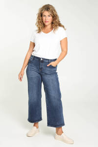 Paprika cropped wide leg jeans Elodie blauw, Blauw