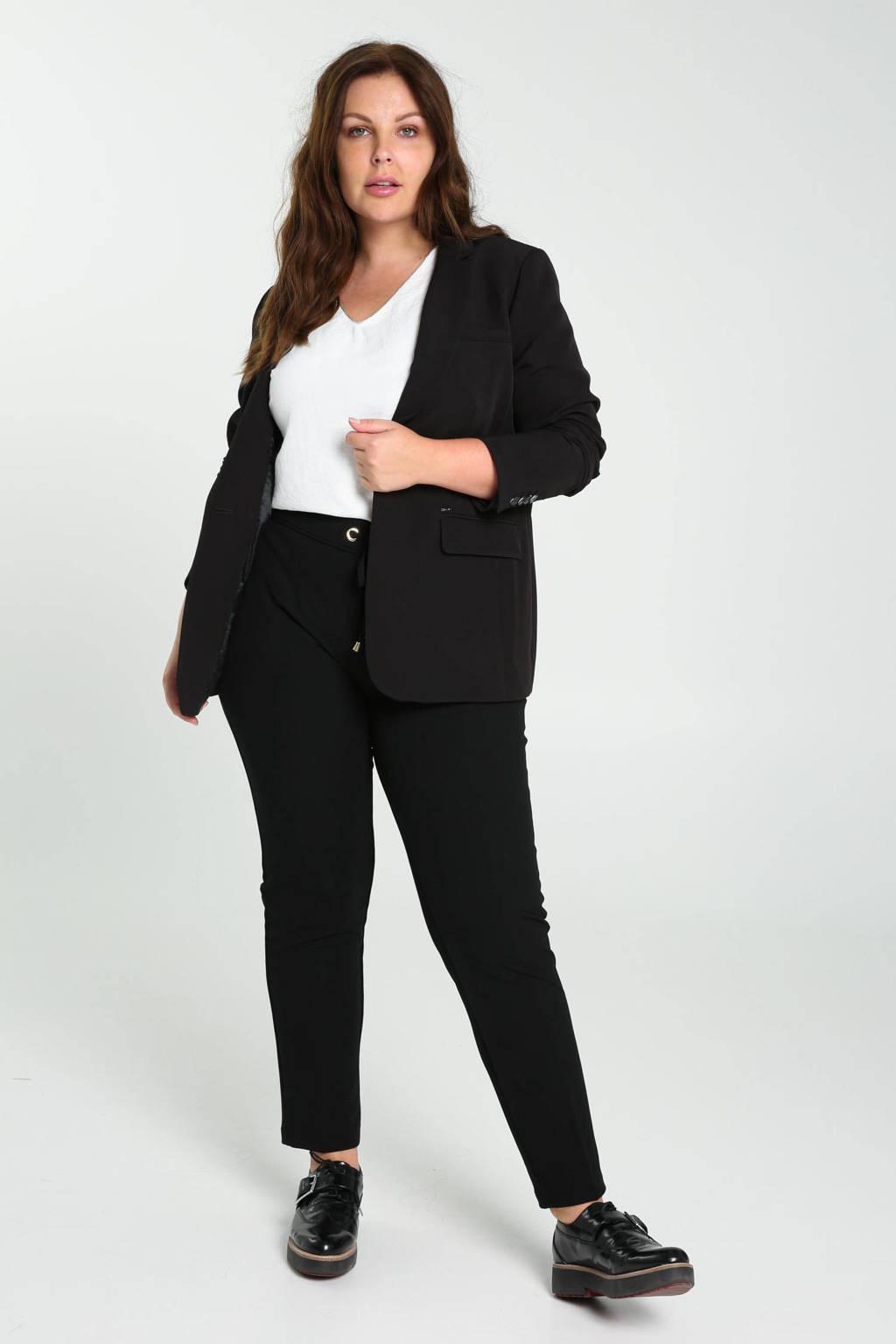 PROMISS slim fit broek met studs zwart, Zwart