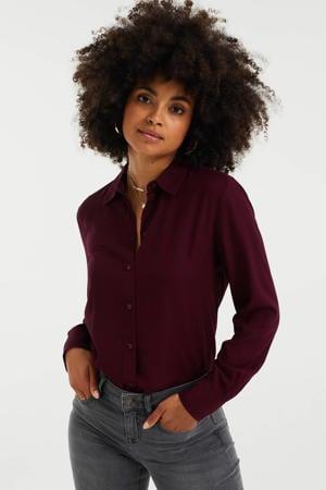 blouse met jacquard donkerrood