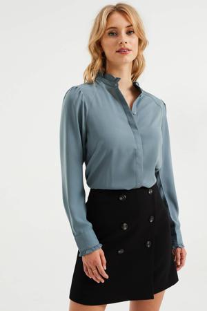 geweven blouse met ruches grijsblauw