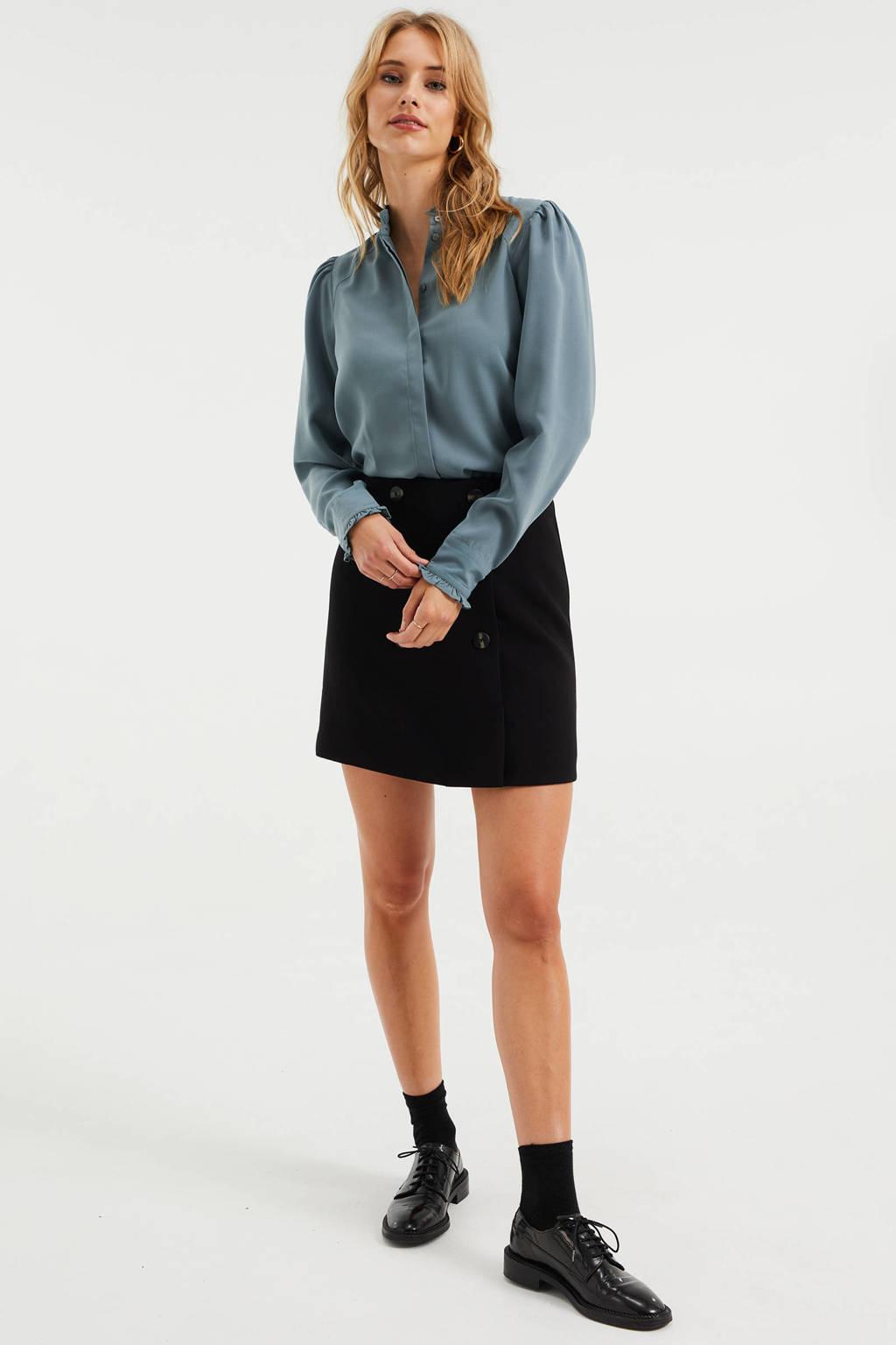 WE Fashion geweven blouse met ruches grijsblauw, Grijsblauw