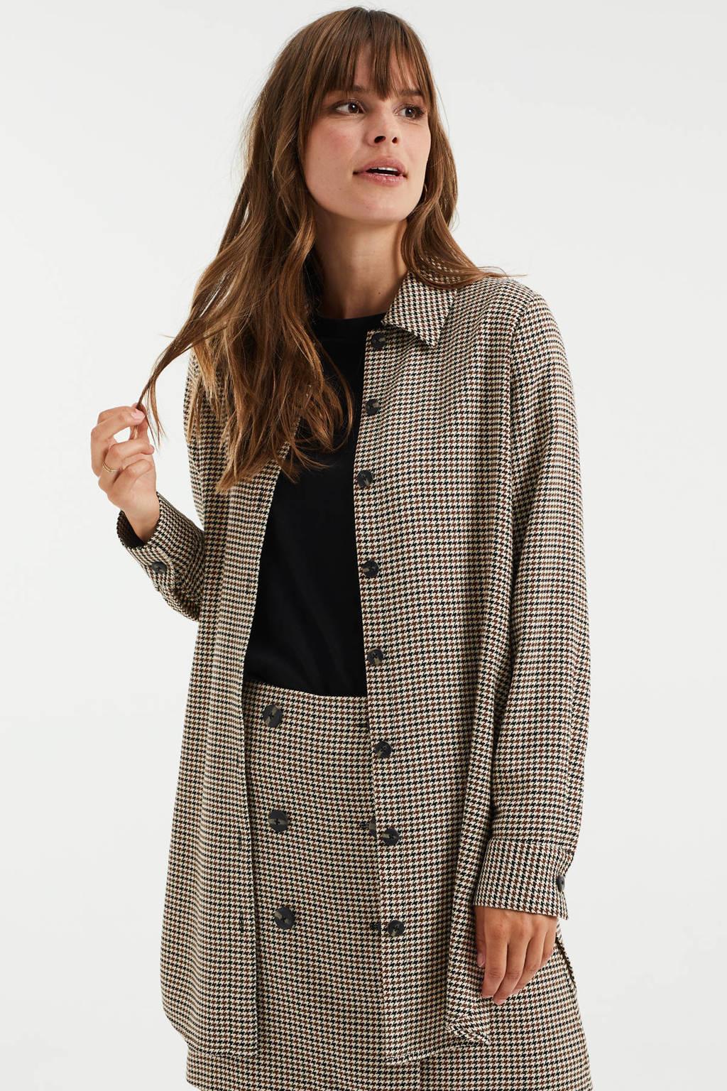 WE Fashion overshirt in pied-de-poule en ceintuur beige/bruin/zwart, Beige/bruin/zwart