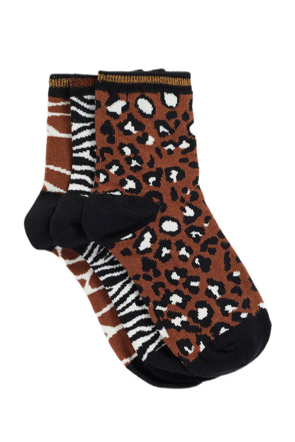 WE Fashion sokken - set van 3 bruin/zwart, Bruin/zwart