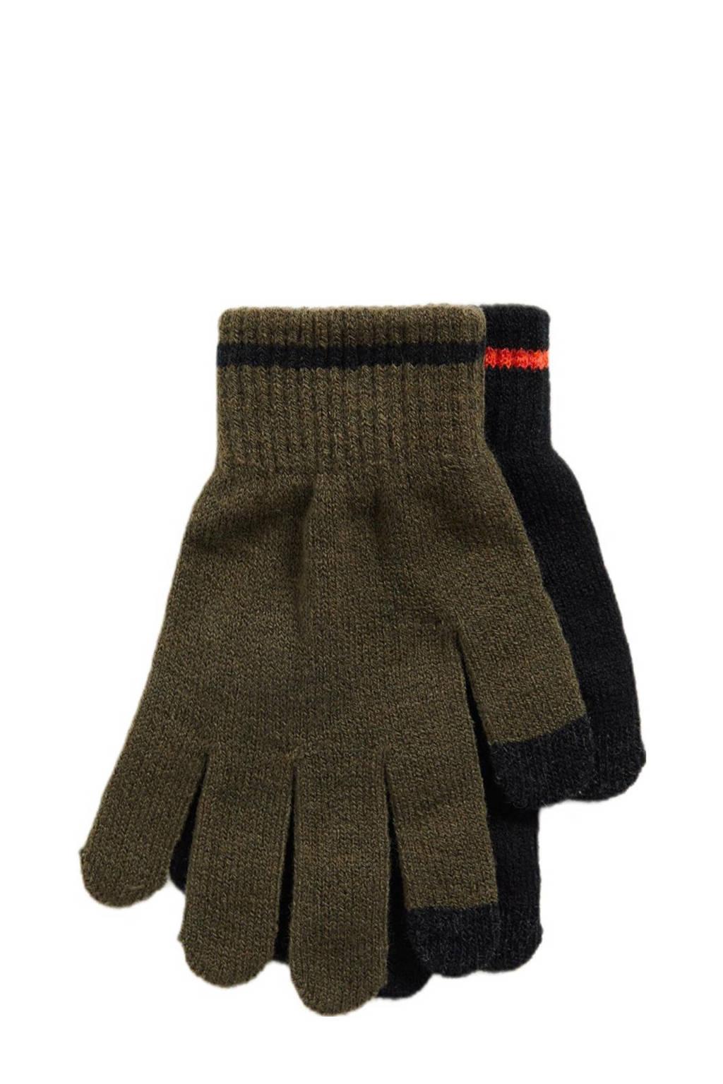 WE Fashion handschoenen - set van 2 zwart/kaki, Zwart/kaki