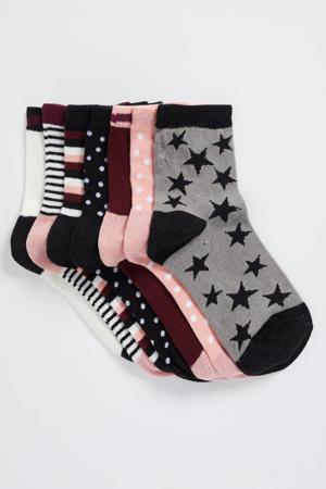 soken - set van 7 donkerblauw/roze