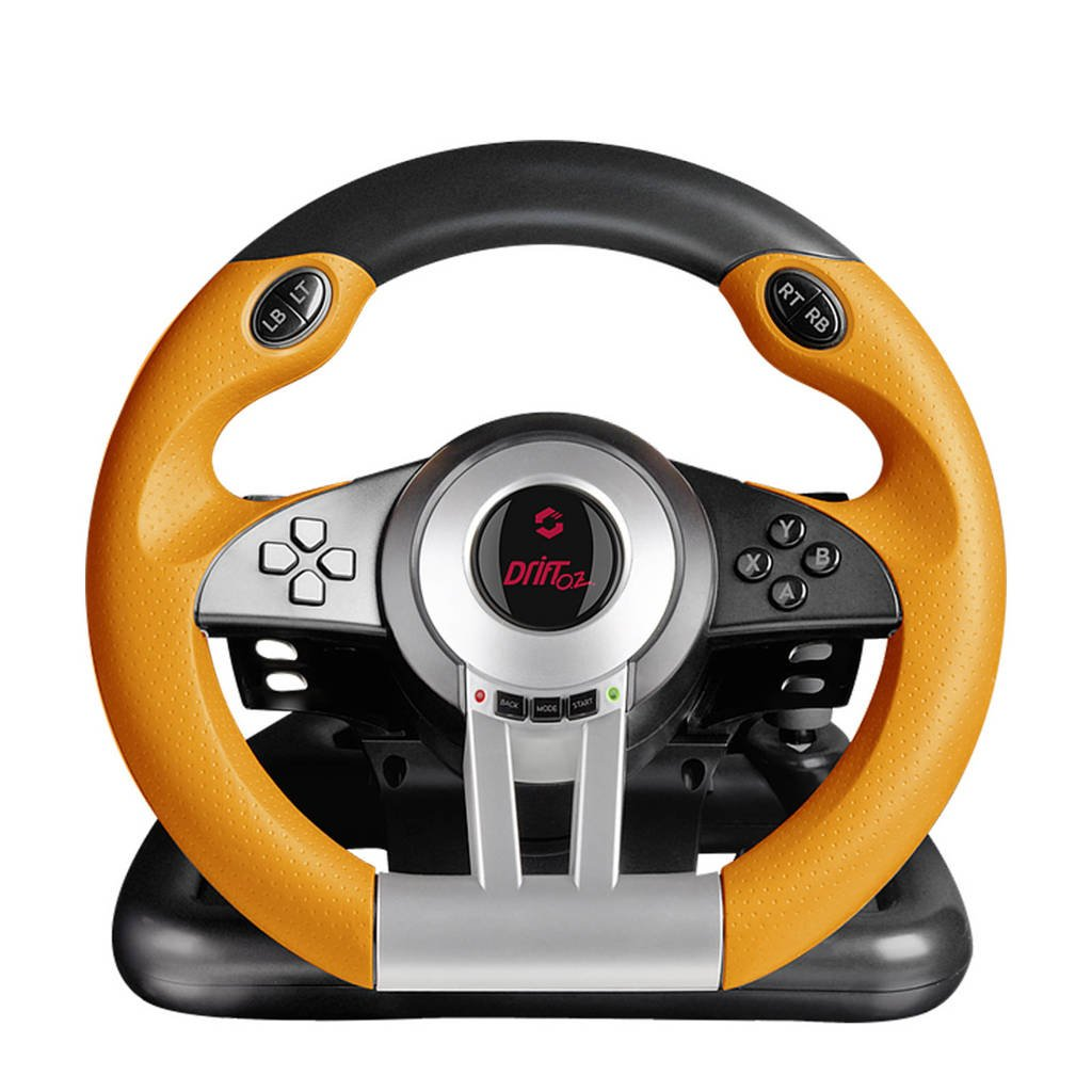 Speedlink Drift O.Z. racestuur + pedalen, Black,Grey,Orange