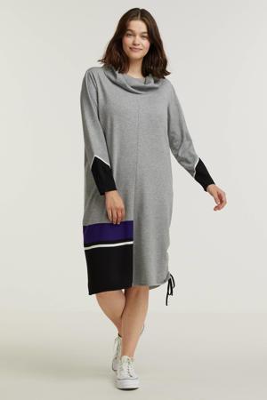jurk grijs melange/zwart/paars