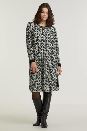 jurk met contrastbies zwart/grijs/wit