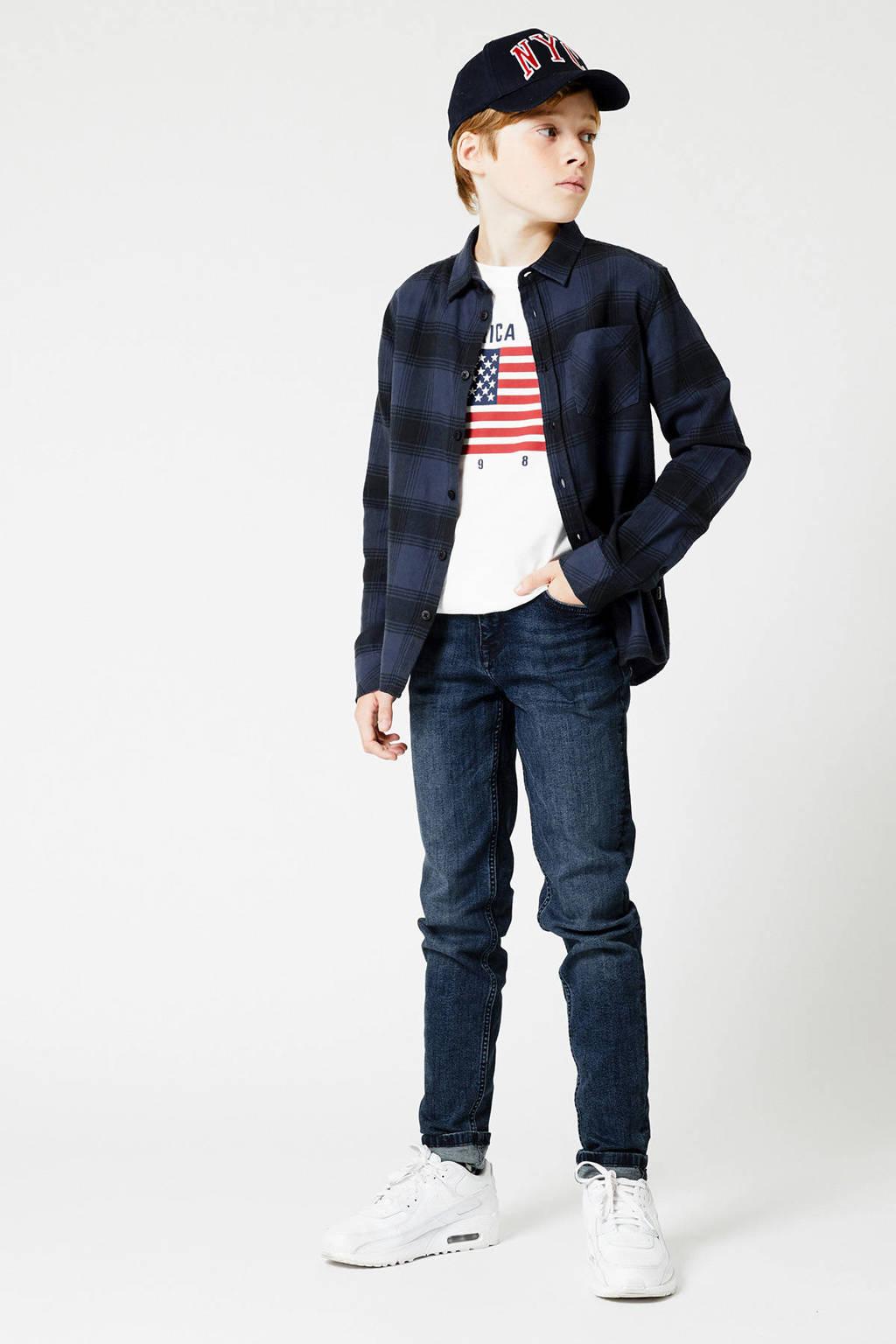 America Today Junior geruite overhemd Hector donkerblauw, Donkerblauw