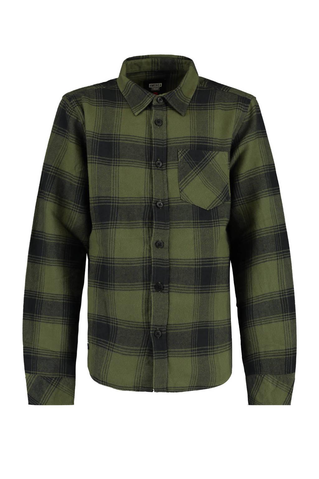 America Today Junior geruite overhemd Hector zwart/donkergroen, Zwart/donkergroen