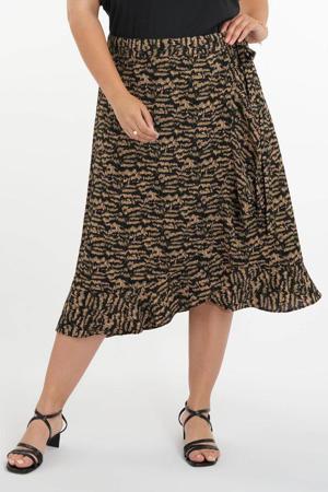 rok met zebraprint en volant zwart/beige/groen