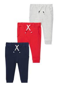 C&A Baby Club sweatpants - set van 3 donkerblauw/rood/lichtgrijs, Donkerblauw/rood/lichtgrijs