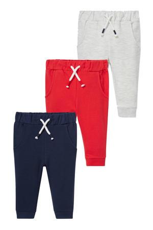 sweatpants - set van 3 donkerblauw/rood/lichtgrijs