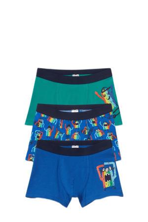 boxershort - set van 3 blauw/groen