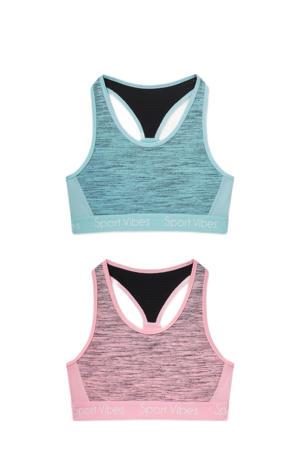 bh-top - set van 2 roze/blauw