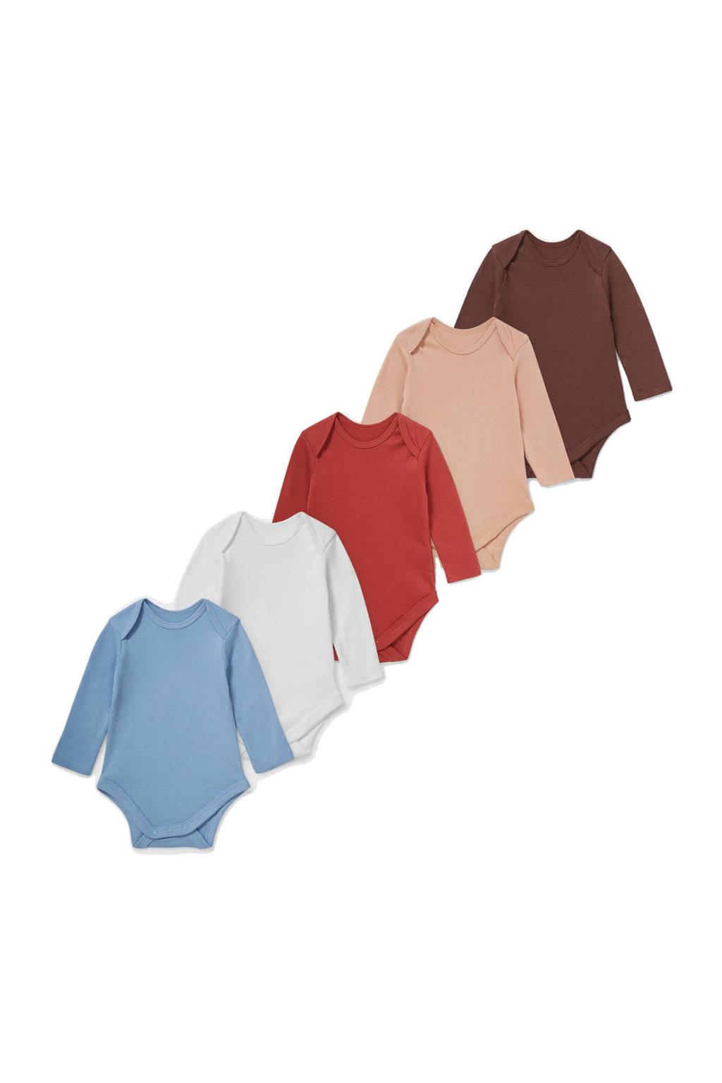 C&A Baby Club romper - set van 5 multi, Blauw/wit/rood/zalm/bruin