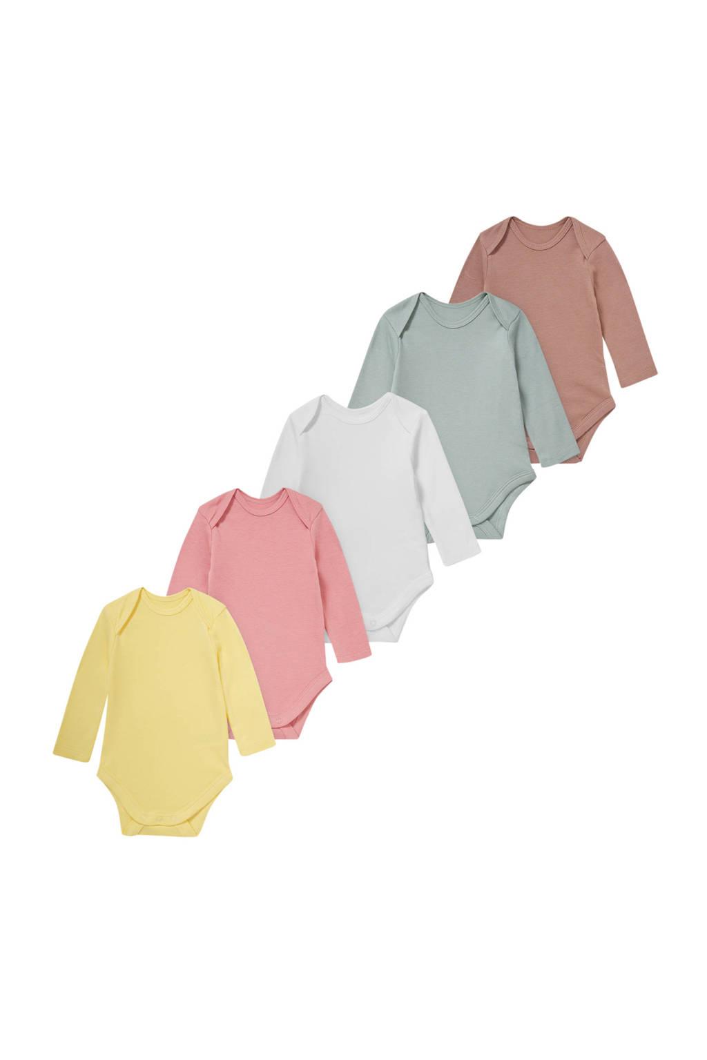 C&A Baby Club romper - set van 5 geel/roze/wit/groen/bruin, Geel/roze/wit/groen/bruin