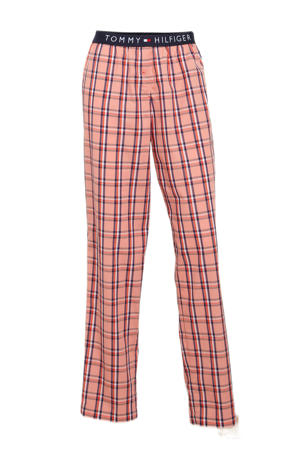 geruite pyjamabroek roze/blauw