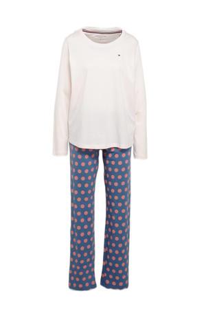 pyjama met stippenprint blauw/wit