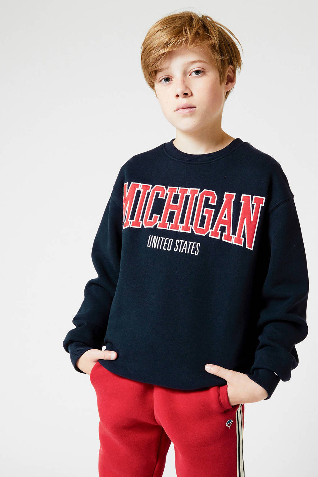 America Today Junior sweater met tekst donkerblauw, Donkerblauw