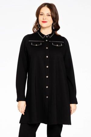 wijdvallende blouse met studs INTERLOCK zwart/goud