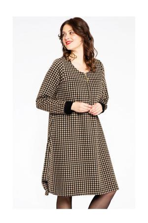 jurk met pied-de-poule bruin/zwart