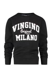 Vingino Essentials sweater met logo zwart, Zwart