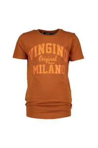Vingino Essentials T-shirt met logo bruin, Bruin