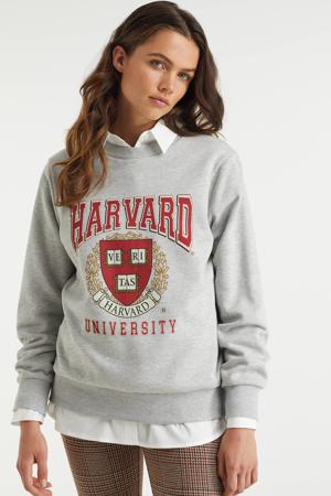 Harvard sweater met printopdruk grijs/rood