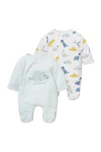 C&A Baby Club boxpak - set van 2 dinoprint lichtblauw/geel/wit, Lichtblauw/wit/geel