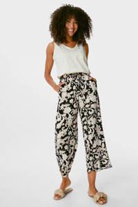 C&A Yessica cropped wide leg culotte met all over print beige/zwart, Beige/zwart