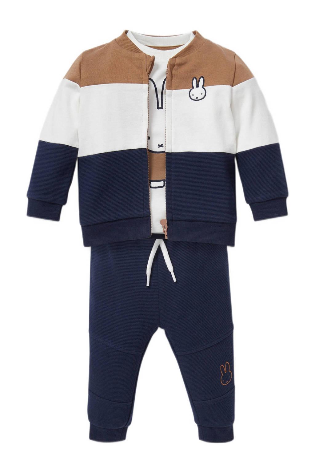 C&A Baby Club Nijntje vest + T-shirt + broek donkerblauw/beige/ecru, Donkerblauw/beige/ecru