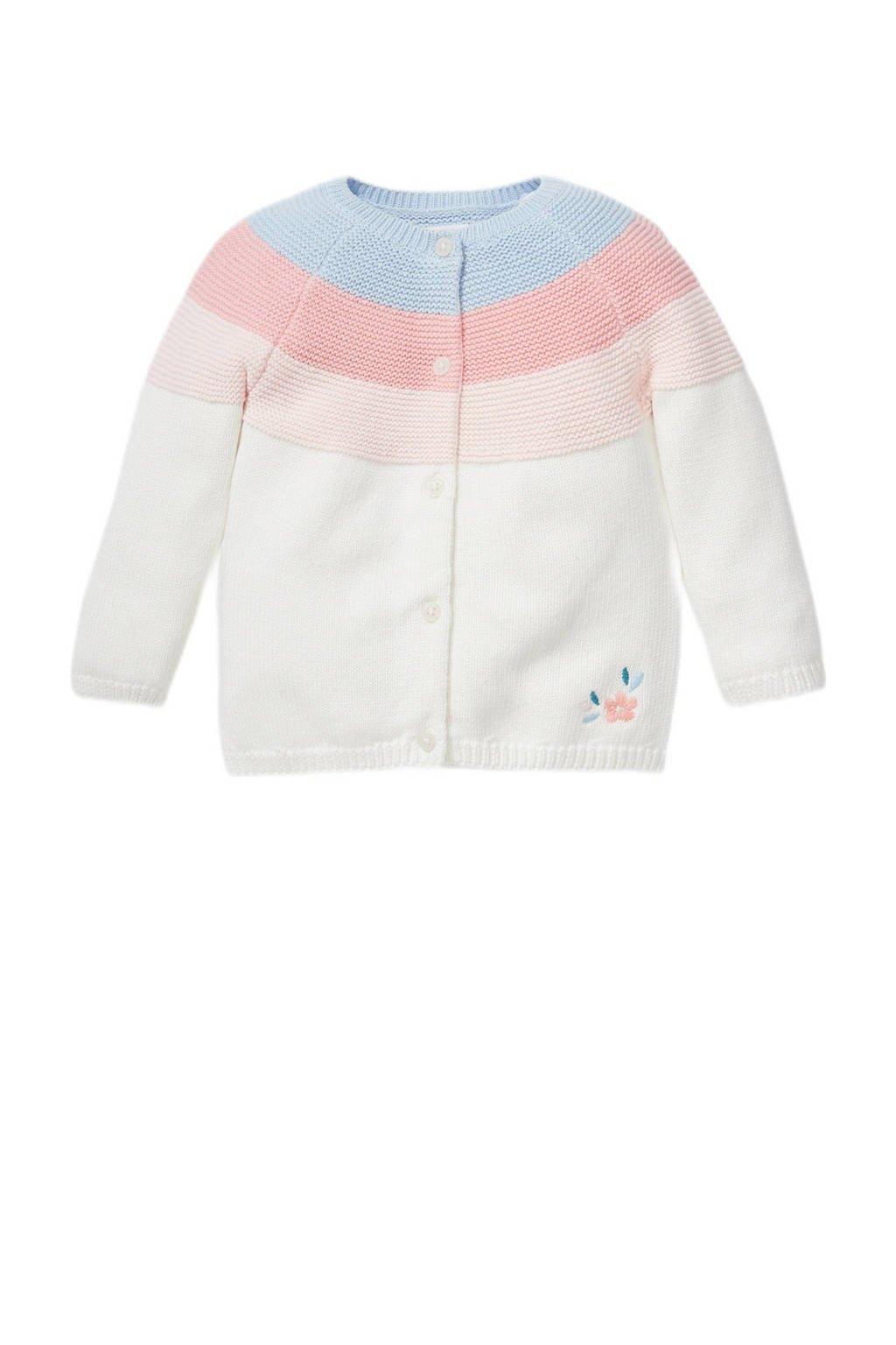 C&A Baby Club gebreid vest ecru/roze/blauw, Ecru/roze/blauw