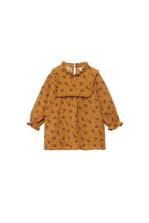 jurk met all over print en ruches okergeel