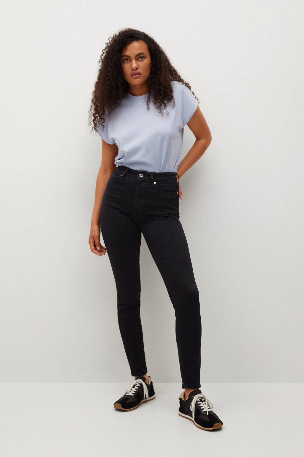 Mango high waist skinny jeans dark grey, Dark grey denim