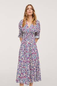 Mango jurk met all over print en plooien fuchsia/blauw/ecru, Fuchsia/blauw/ecru