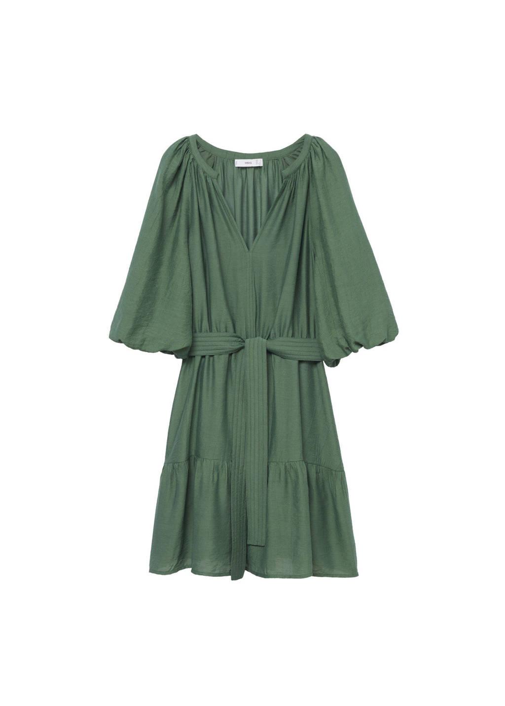 Mango jurk met volant groen, Groen